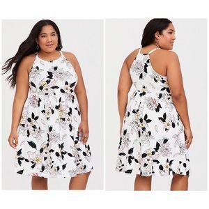Torrid White Floral Textured Knit Skater Dress